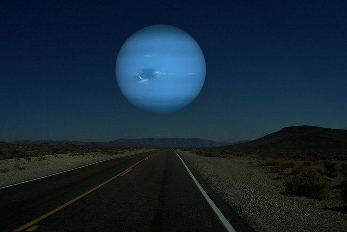 Neptuno Desde La Tierra En El Suspuesto Que Estuviera A La Misma Distancia Que Está La Luna De La Tierra Neptuno Planeta Planetas Del Sistema Solar Planetas