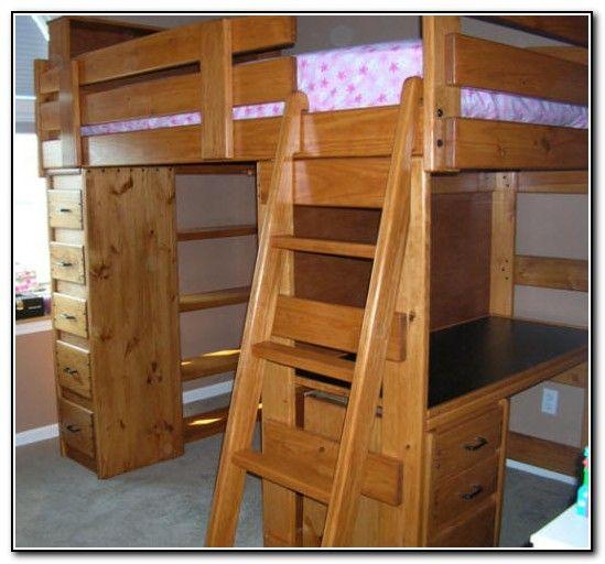 Wood Bunk Beds With Desk And Dresser Loft Bed Desk Twin Loft