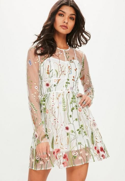 Missguided White Floral Mesh Skater Dress  57d8a41ff