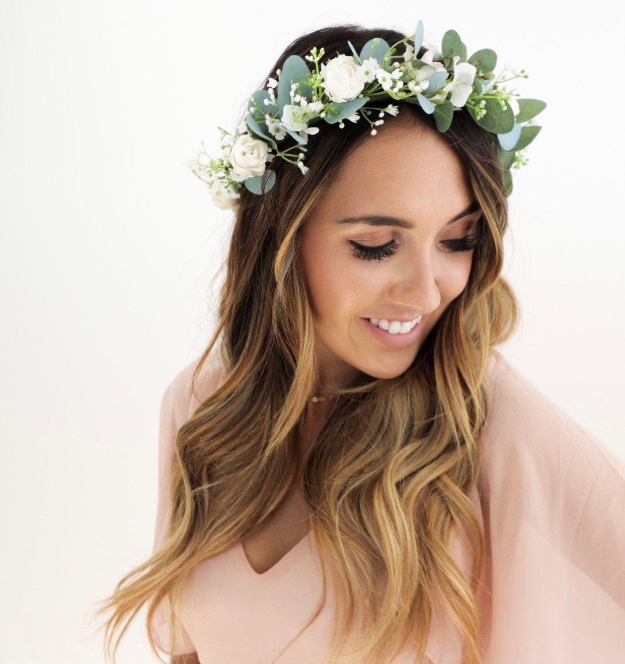 Eucalyptus Floral Crown Babies Breath Flower Halo Maternity Baby Shower Bridal Shower Mo Flower Crown Bride Floral Crown Wedding Flower Crown Wedding