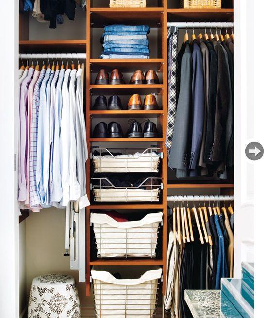 Small Space Interior Urban Eclectic Bedroom Organization Closet Small Closets Mens Closet Organization Bedroom storage ideas mens
