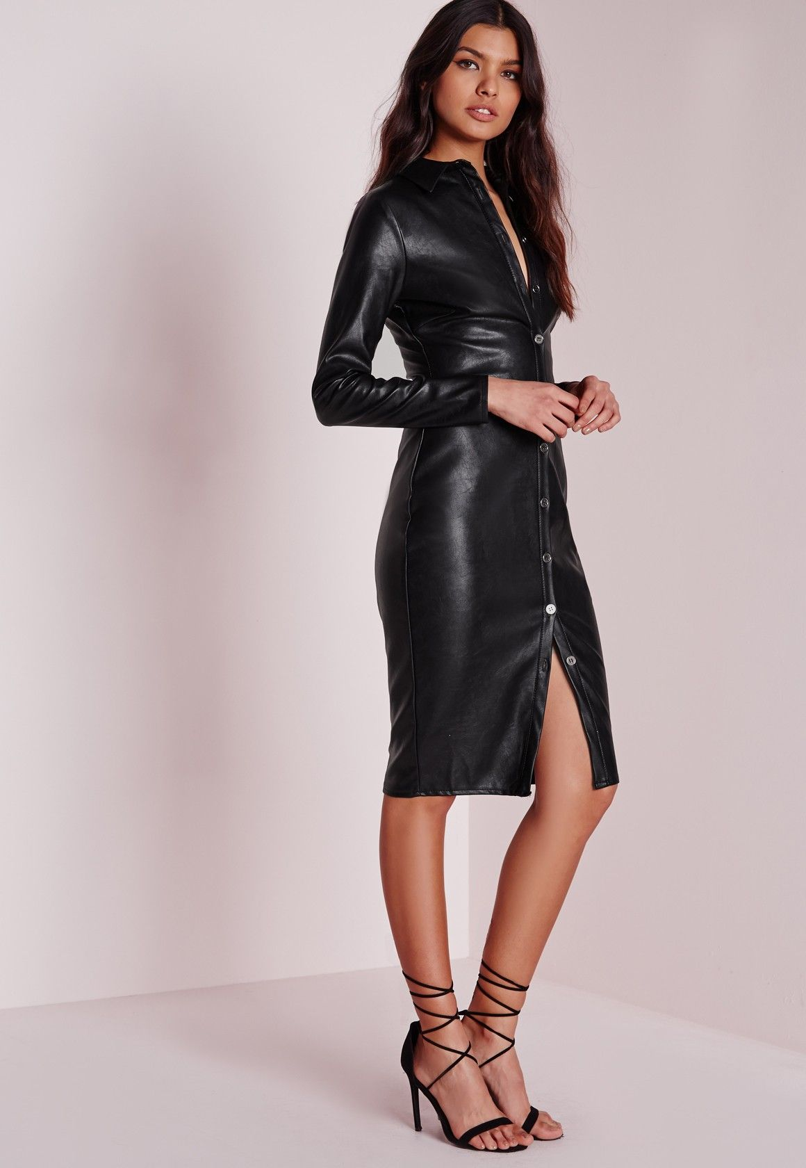 Missguided faux leather fitted midi shirt dress black for Faux leather what does it mean