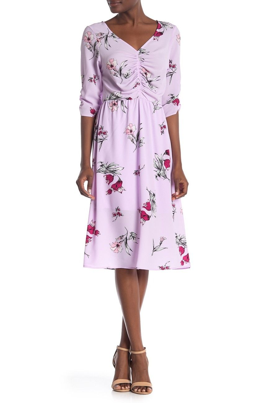 Bobeau Ruched Floral Midi Dress With Images Nordstrom Rack