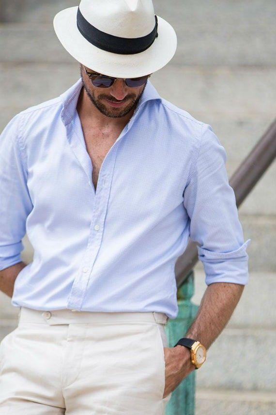 0cf4ccec43254 Chapéu panamá com camisa social de algodão e alfaiataria leve