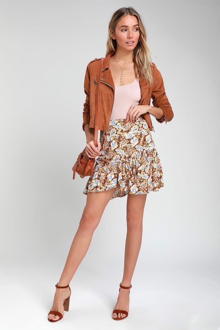 ea88ca0d20 Lulus   Nadia Yellow Floral Print Ruffled Wrap Mini Skirt   Size 10 ...
