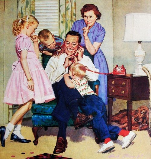 Stop pushing, you all get a chance to talk to Grandma!  Detail from 1959 Bell Telephone ad.