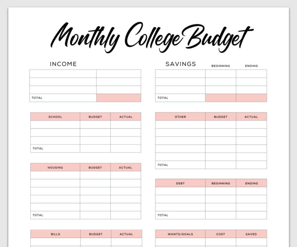 Beginner Printable Budget Worksheet For College Students