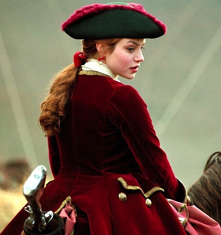 Past medieval red coat bounty hunter pirate horse rider riding ...