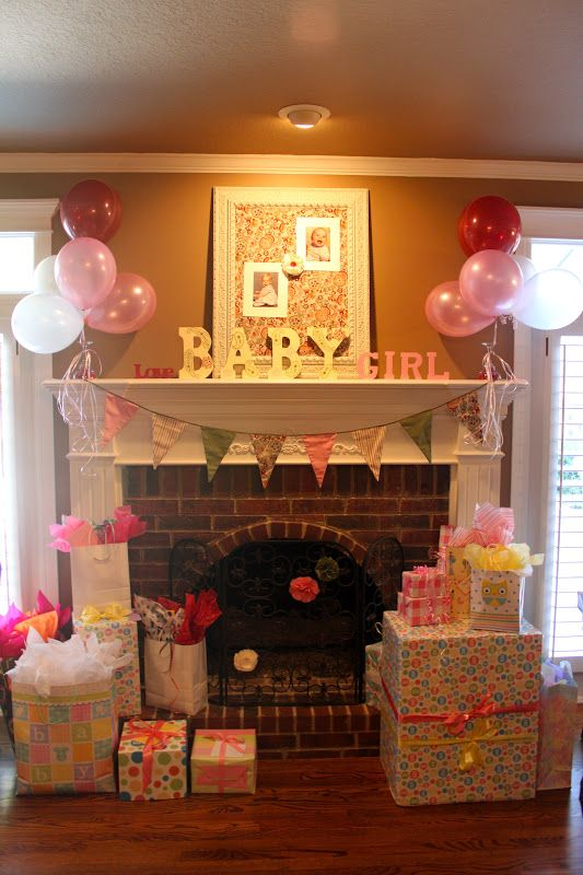Mantel for shower! Baby Girl Shower - change to blue and presto ...
