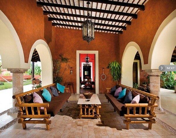 Terraza de hacienda muy mexicana hacienda pinterest for Decoracion de interiores estilo mexicano