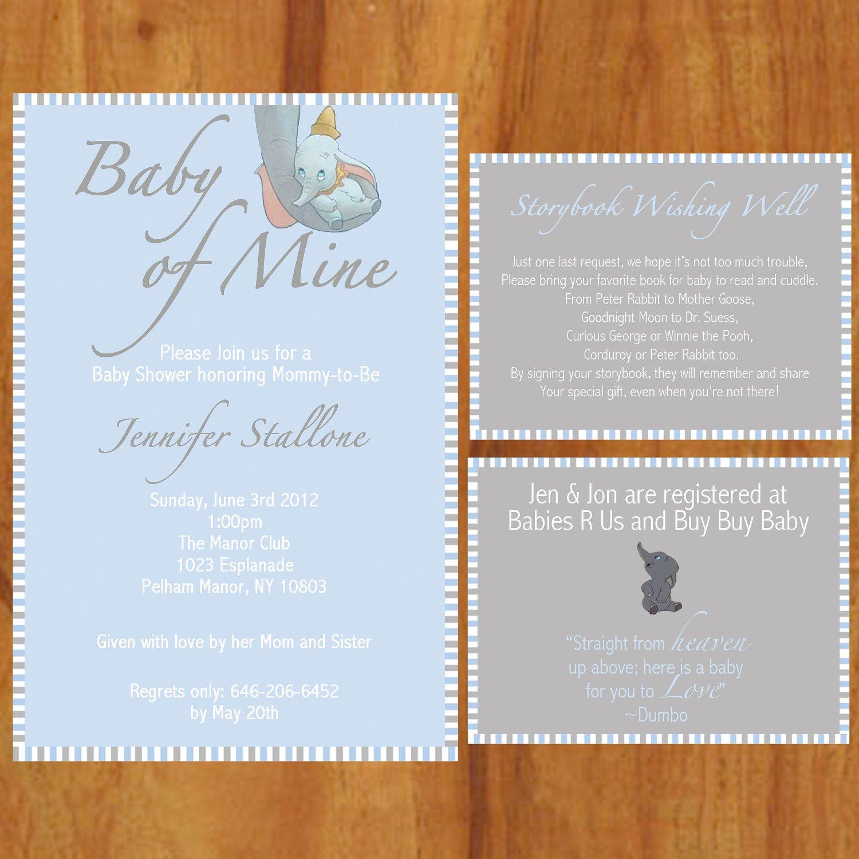 Dumbo Baby Shower Invite Only, Digital Invite, 5x7, Customizable ...