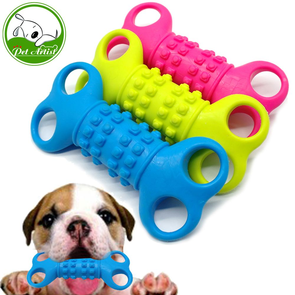 Soft Rubber Bone Interactive Dog Toys Non Toxic Pet Cat Puppy Chew