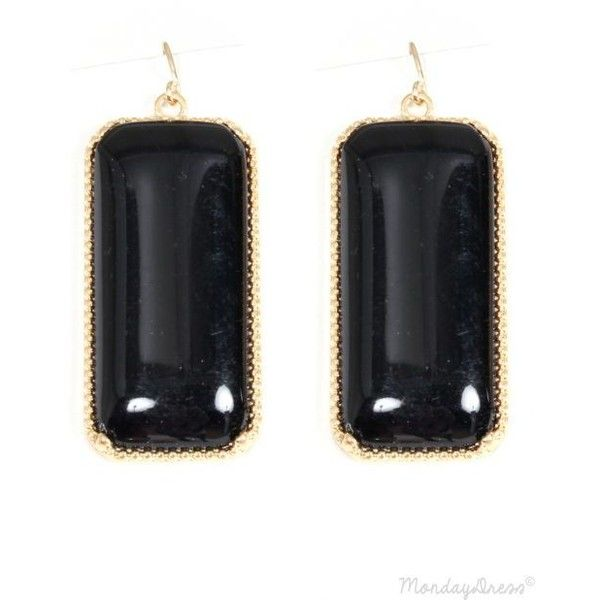 Gold And Black Enamel Dangle Earrings ❤ liked on Polyvore