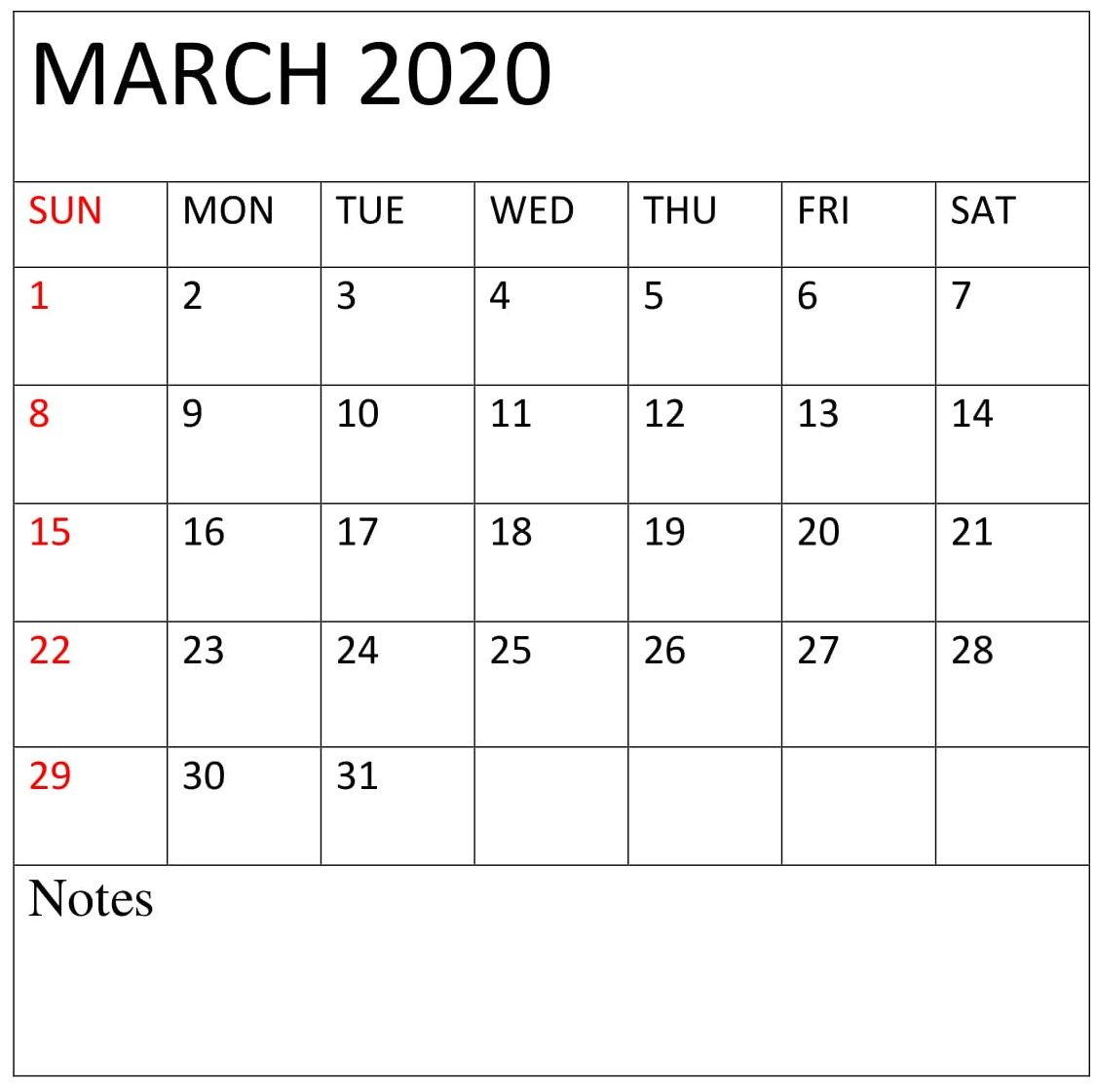 Blank Calendar March Printable Templates With Notes