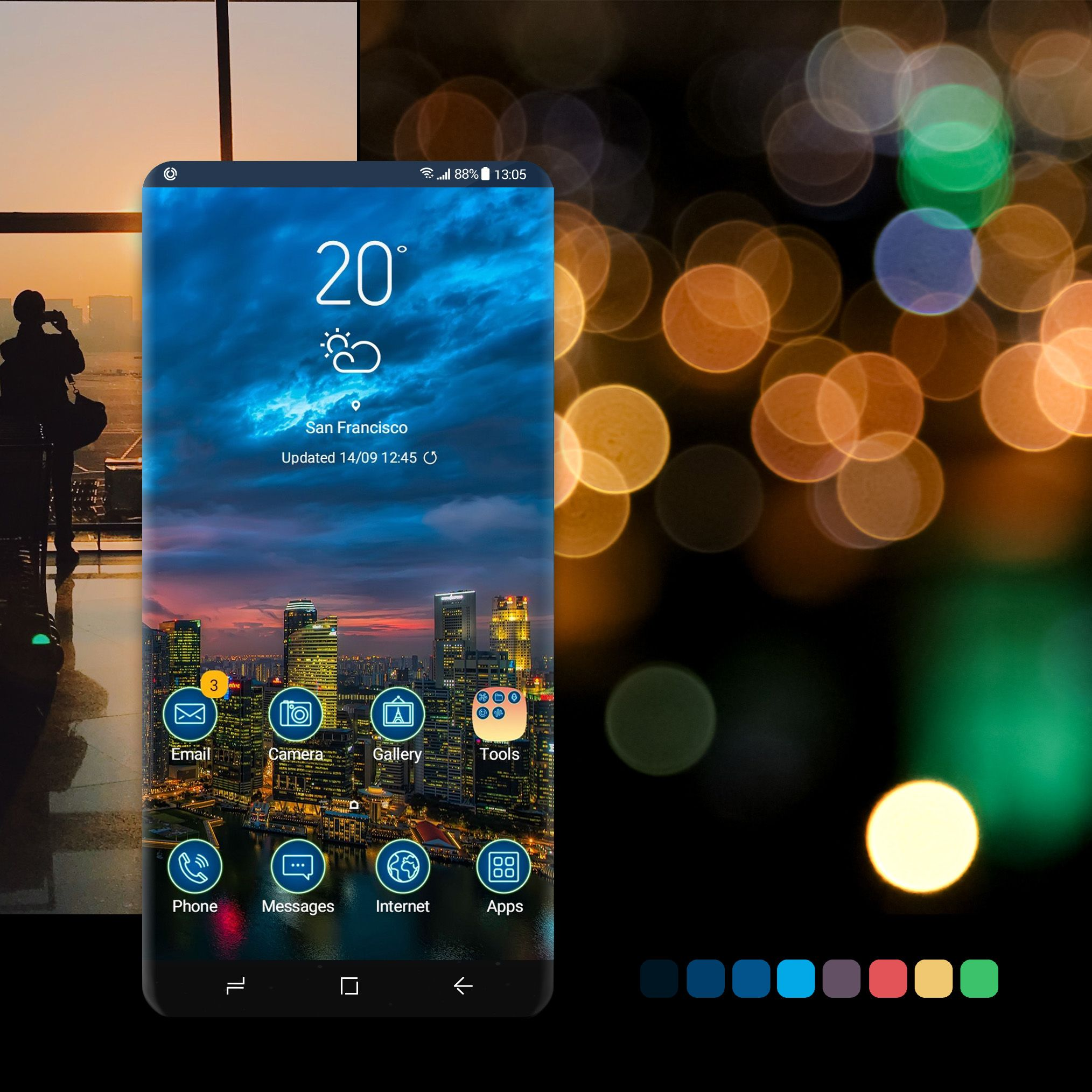 Night City free theme. wallpaper, android, phone,