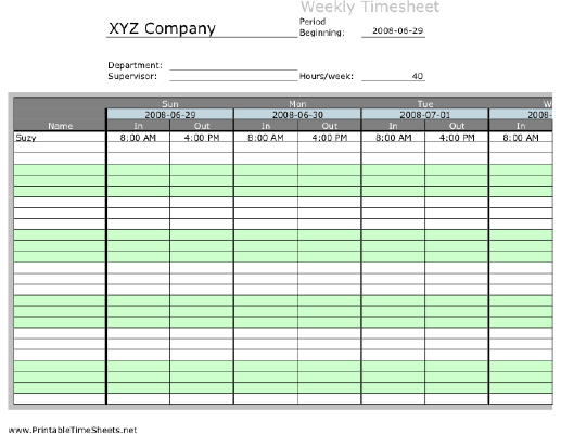 Weekly Multiple Employee Timesheet With Overtime Calculation, 1 Work Period  Printable Time Sheets,