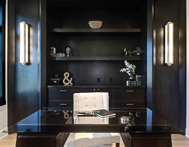 Home Office with long sconces flanking custom cabinet with ... on Corner Sconce Shelf Cabinet id=88693