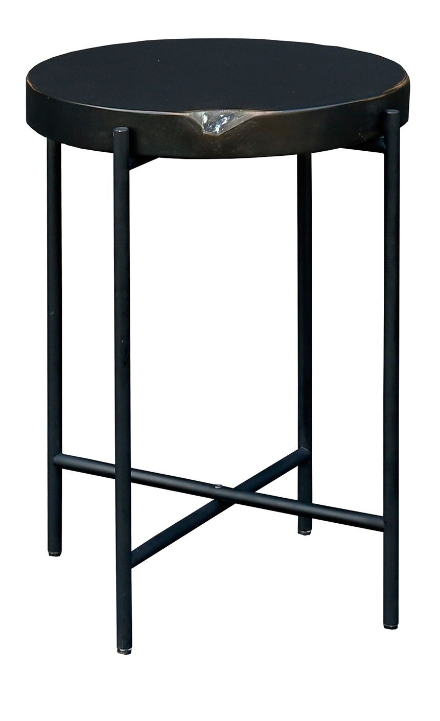 Natural Teak Gets A Modern Upgrade With A Matte Finish And Black Metal Legs Giving This Small Side Table Incredible Modern S Side Table Table Small Side Table