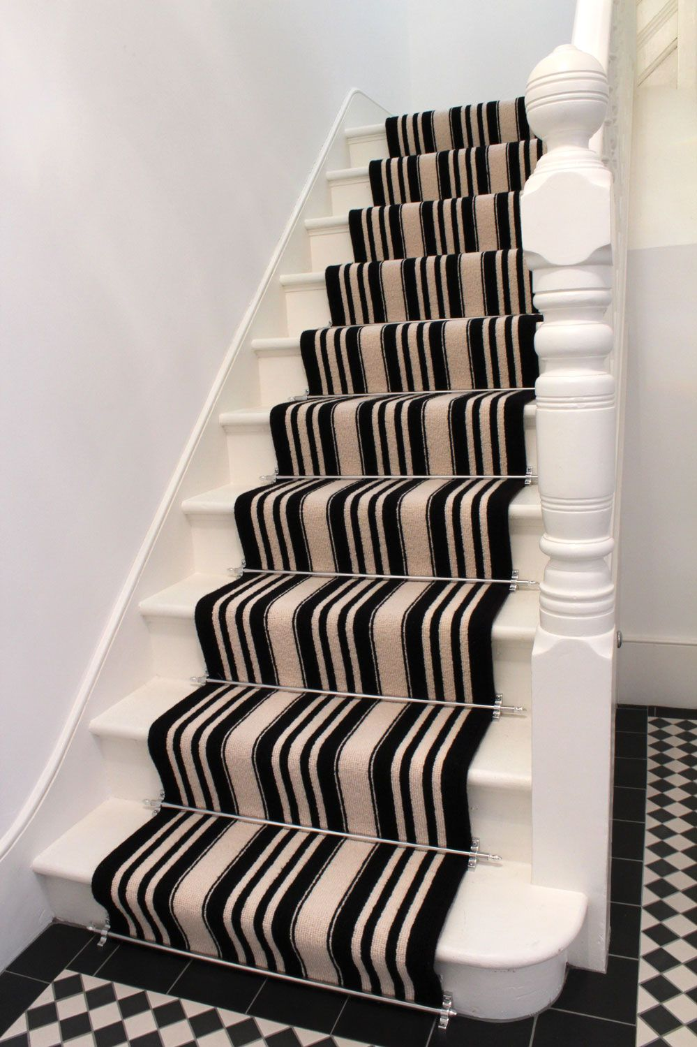 Striped Carpet Black White With Stair Rods Carpet Stairs