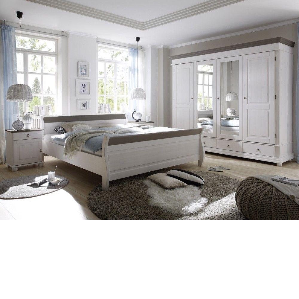 Best Schlafzimmer Oslo tlg Set Kiefer massiv Wei Lava B H T