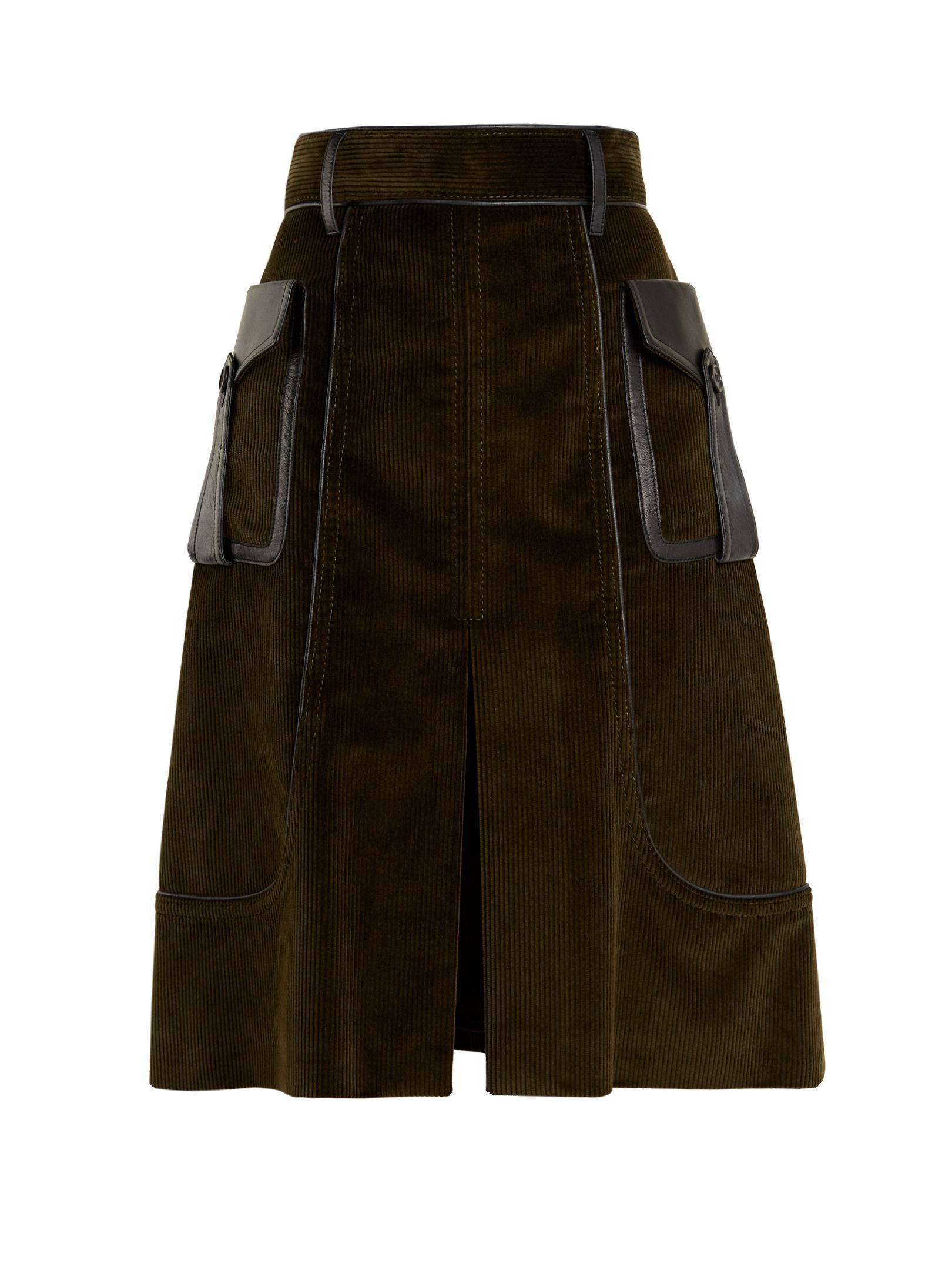Leather-trimmed cotton-corduroy skirt Prada Collections Sale Online AMpp81tM5V