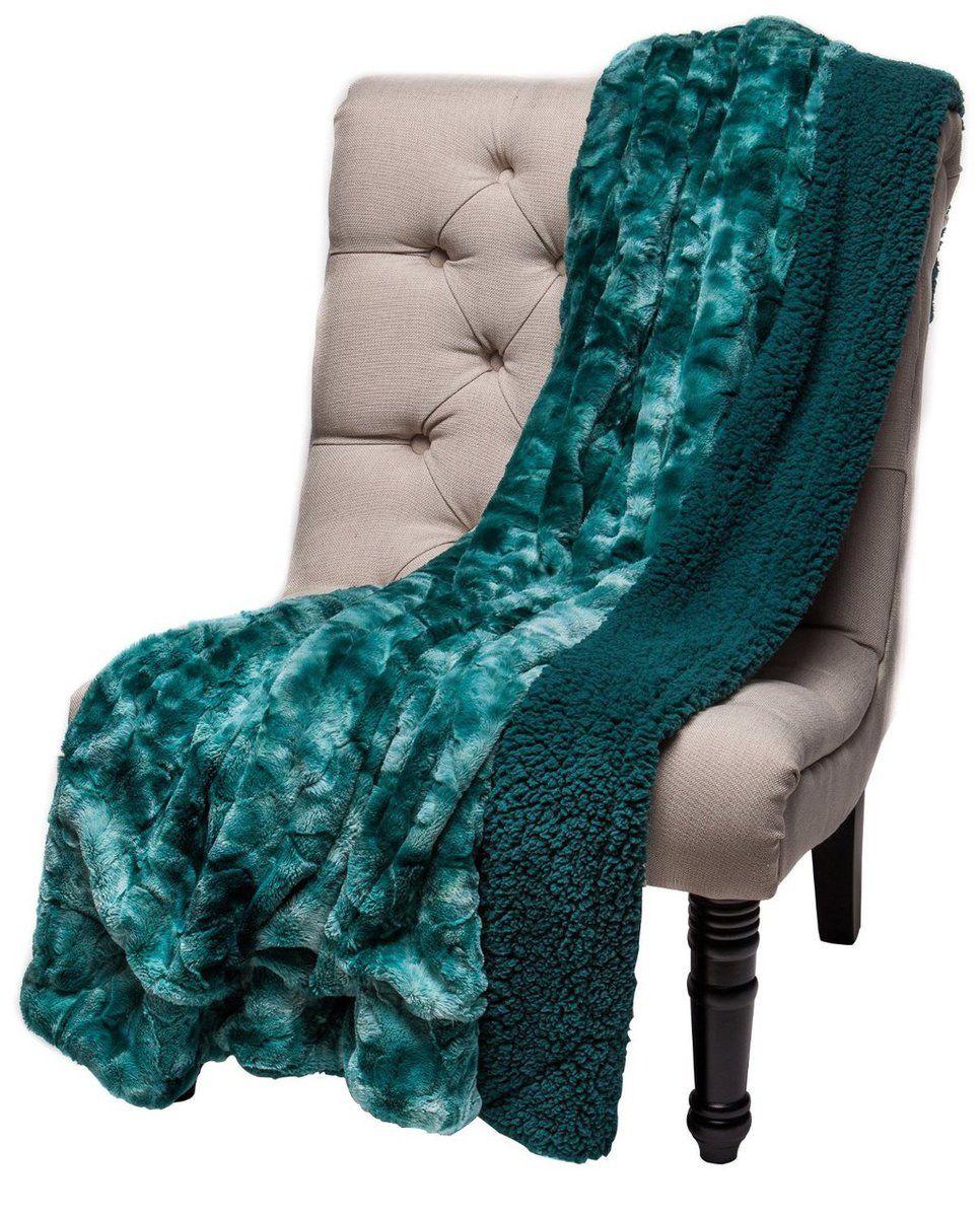 Chanasya Super Soft Fuzzy Fur Warm Teal Blue Sherpa Throw