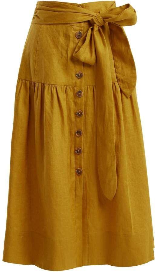 SEA Elsie button down tie-waist linen midi skirt
