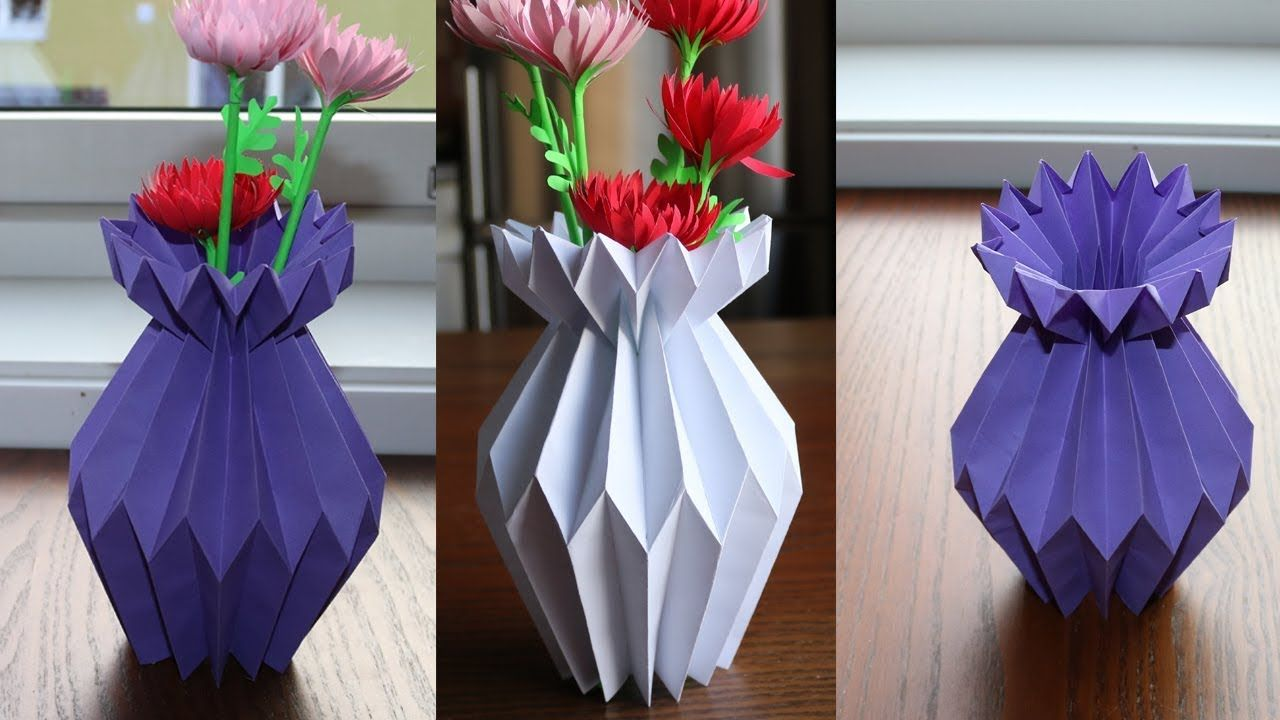 How To Make A Paper Flower Vase Diy Simple Paper Craft Paper