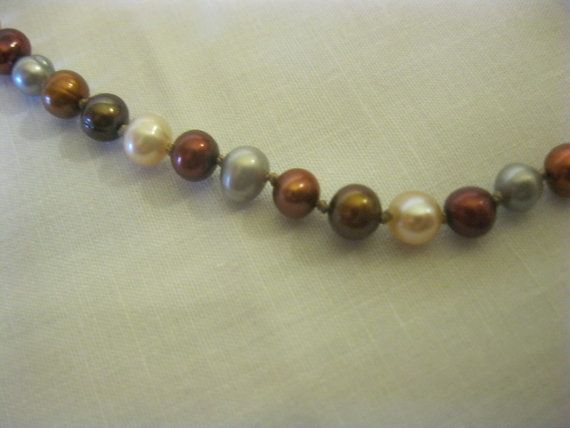 Freshwater Hand Knotted Pearl Necklace Multicolor by MoniqueChic, $24.00