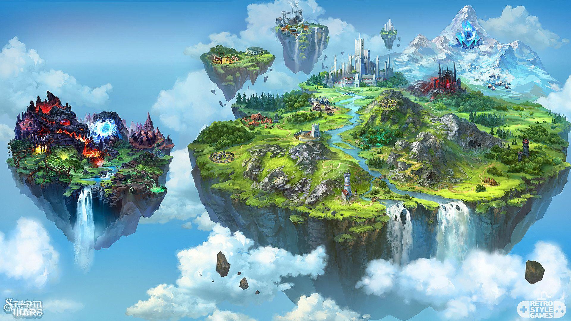 Artstation storm wars flying dragon island 2d map