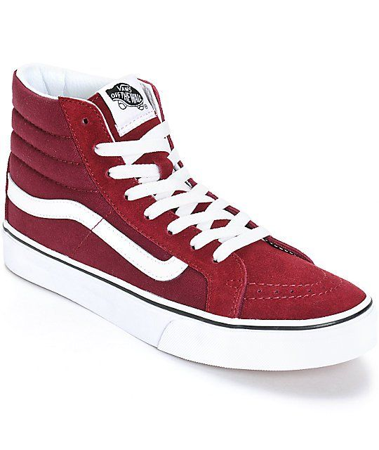 green vans red sk8-hi slim high-tops in suede
