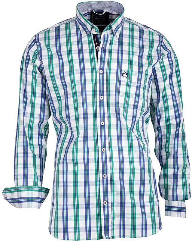 Das #Herrenhemd von CLAUDIO #CAMPIONE kommt im frischen Karolook, mit Brusttasche und Logo Stickerei und einem modernen Button Down Kragen.