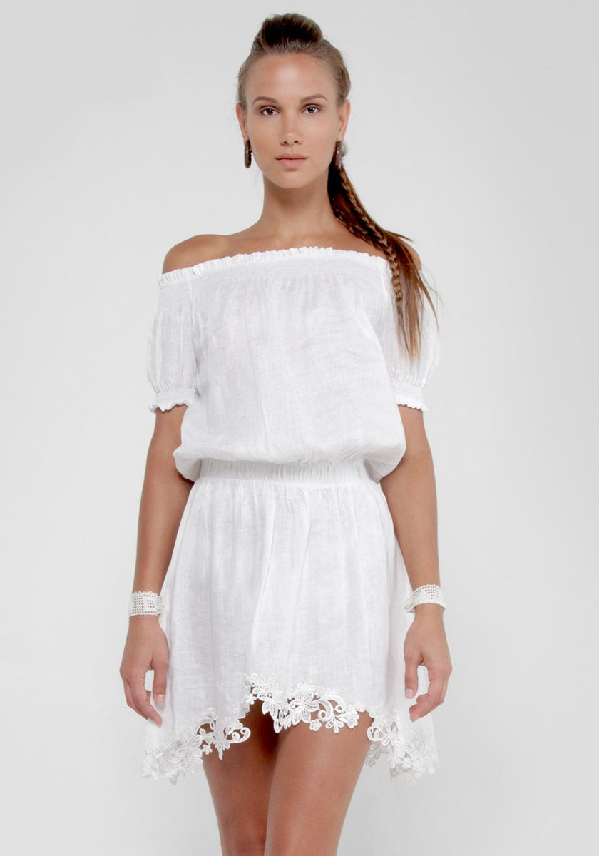 0793494a025db 100% Linen Off The Shoulder Dress with Elastic Sleeves in White