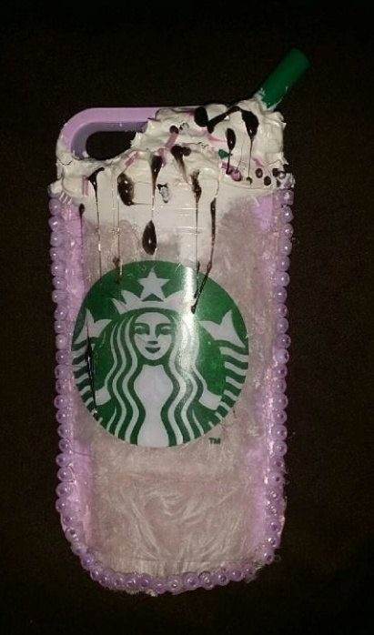 This took alot of hard work . Very cute Custom made Starbucks Phone Case ! Available on Etsy. With or WITHOUT the beads. Mocha latte anyone?