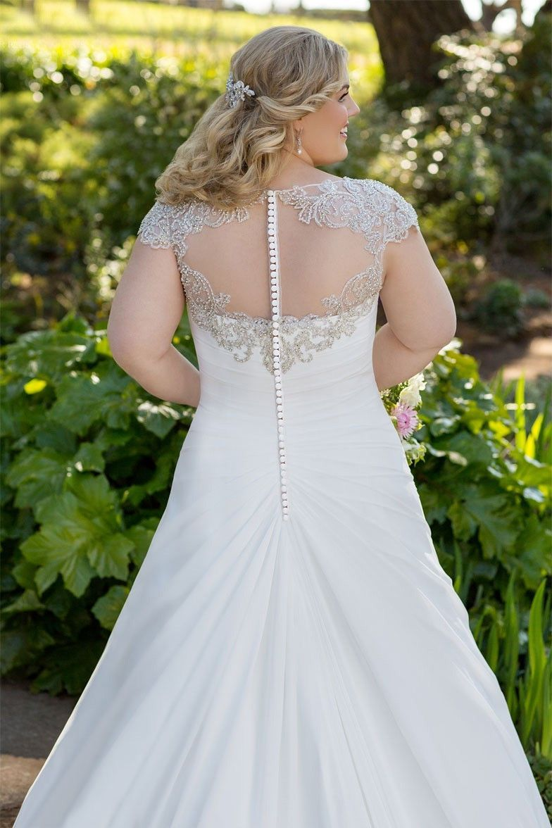 Plus size lace u applique wedding dress available up to size w
