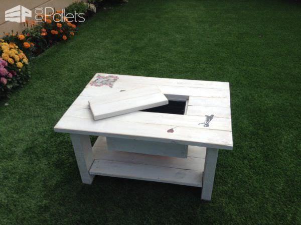 Rustic Pallet Wood Coffee Table With Drink Cooler Mebel Iz Poddonov Dlya Doma Poddony