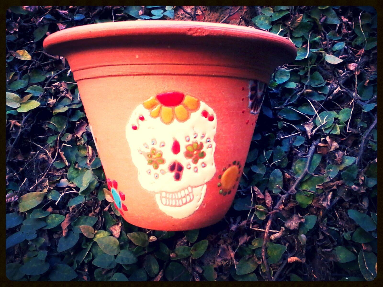 "Vaso cerâmica parede pintura Corda Seca - ""Caveira Mexicana"""