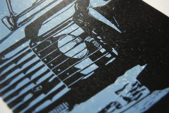 Land Rover linocut – Land Rover art print, 4×4 art print, classic car art