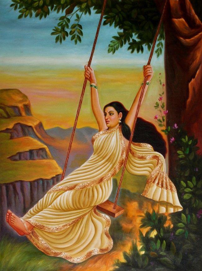 Lady Swinging Female Art Painting Swing Painting Indian Art Gallery