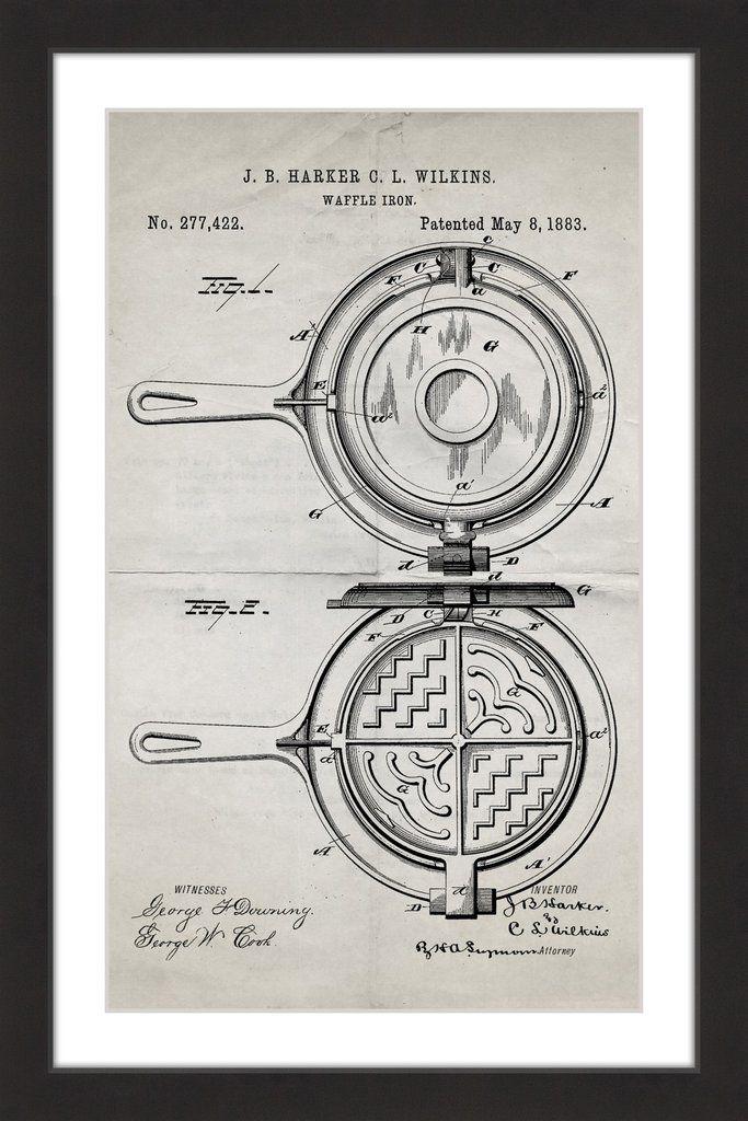 Waffle Iron 1883 Old Paper Waffle iron, Waffles and Paper artwork - new old blueprint art