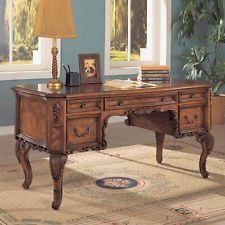 Elegant Traditional Antique Solid Carved Wood Office Desk w ...