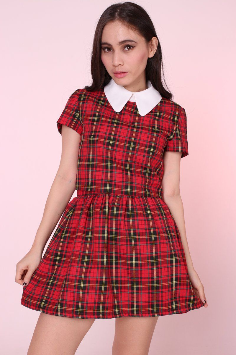 25fbcd53cdc2 2 Piece top and skirt Red Tartan Clueless inspired set We pair stunning  Collar Crop Top and fixed waist skirt Luxe Fabric - wrinkle free! Embrace y.