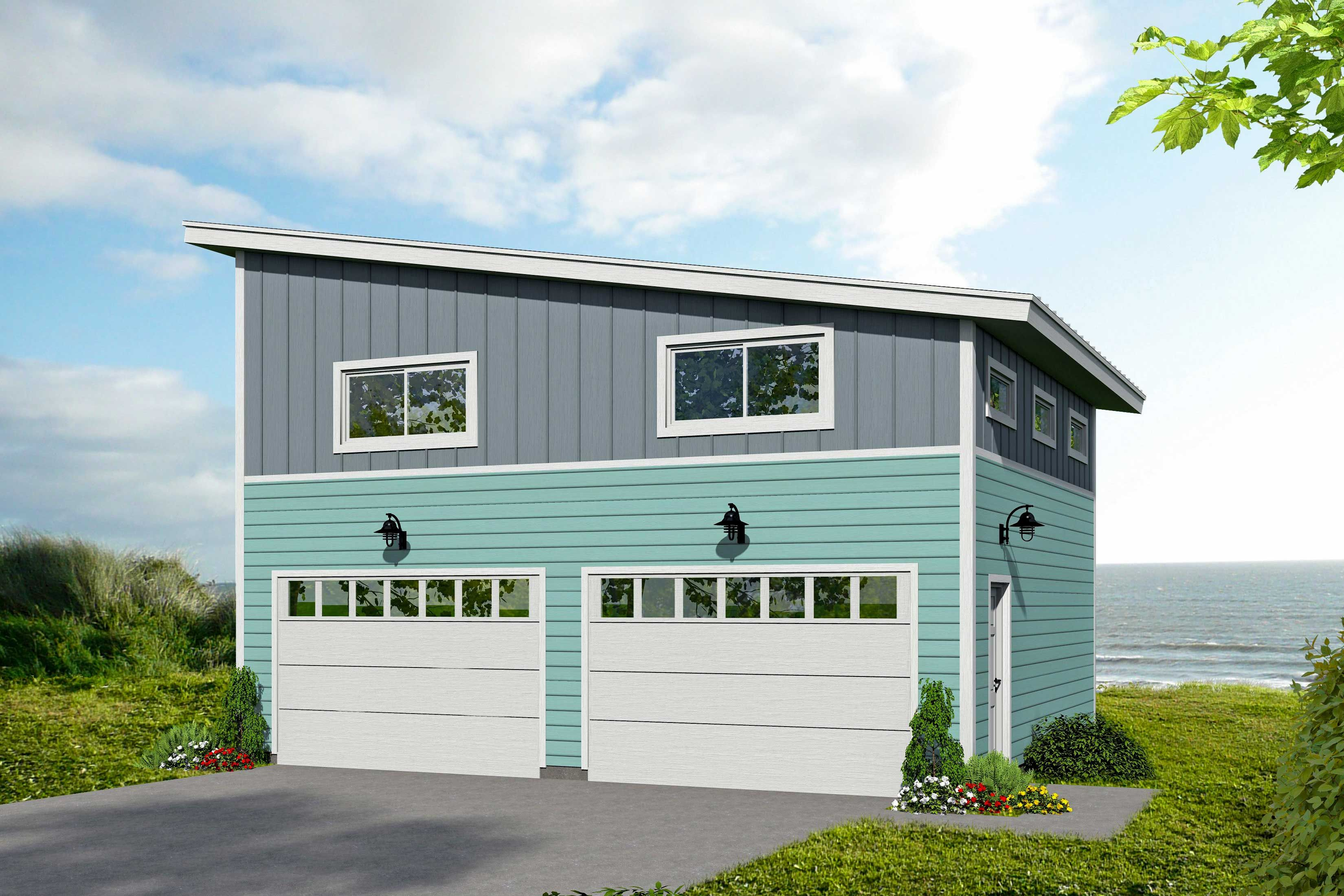 Plan 68554vr Modern Garage Plan With Upstairs Loft Space Garage Plans With Loft Modern Garage Garage Loft