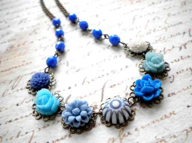 Blue Necklace Flower Necklace Choker Necklace by elinacreations, $35.00