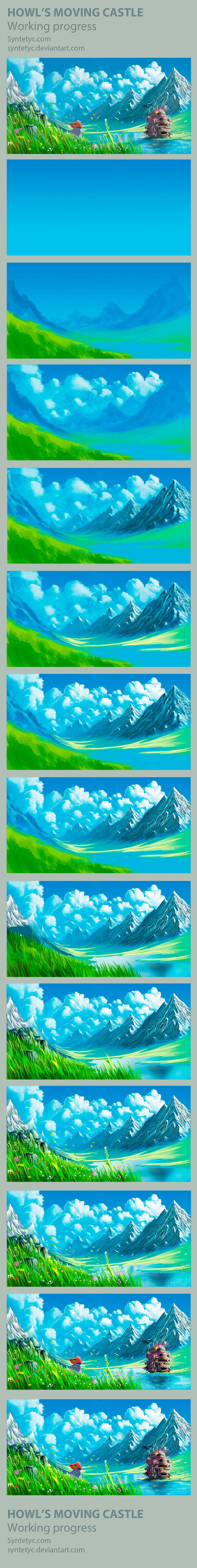 Howl's Moving Castle - Process by *Syntetyc on deviantART