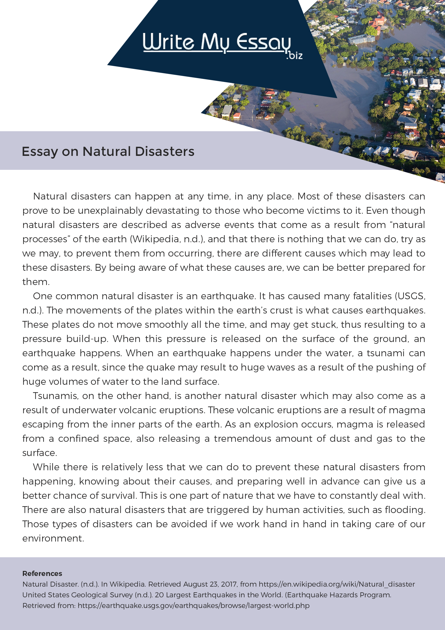 natural calamities essay wikipedia