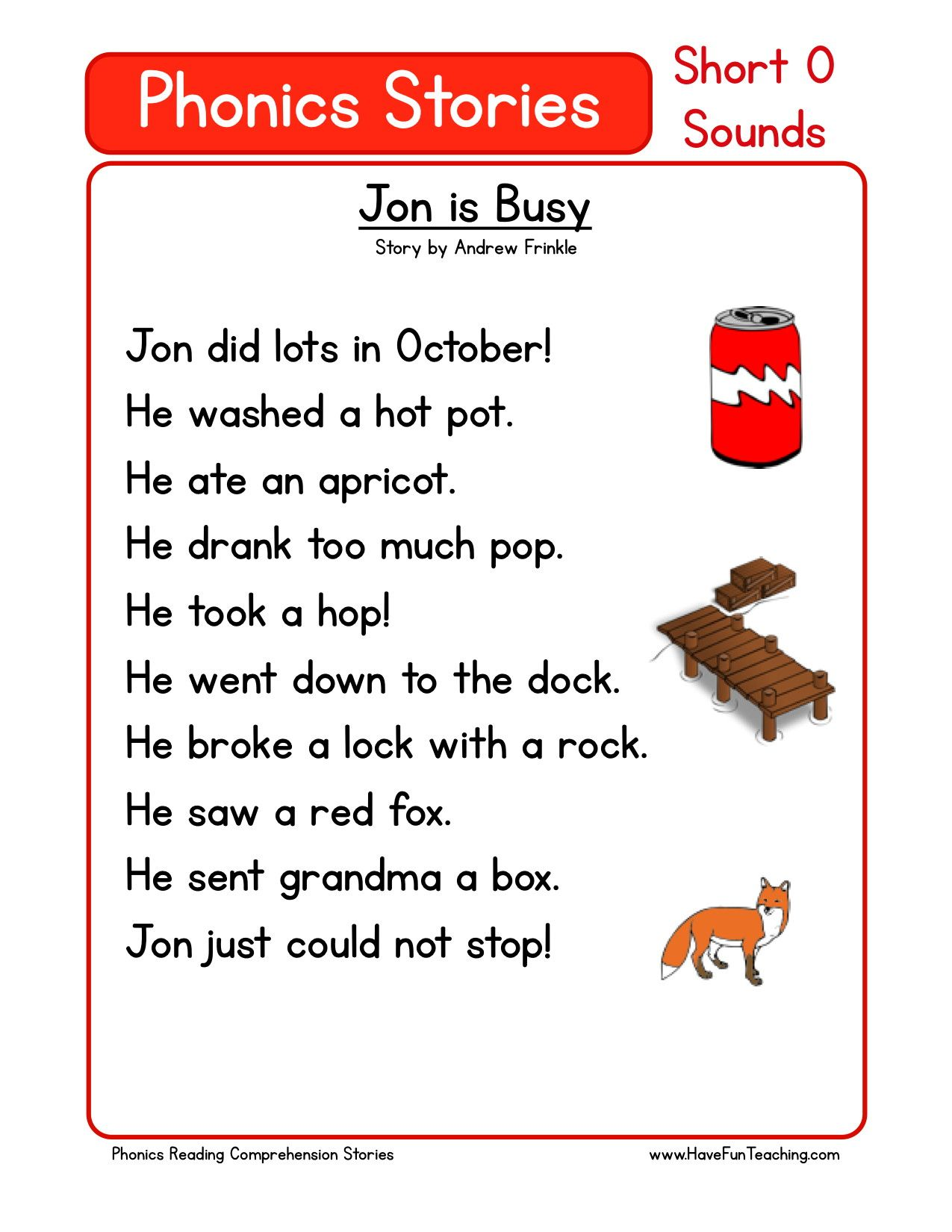This Reading Comprehension Worksheet - Jon is Busy is for teaching ...