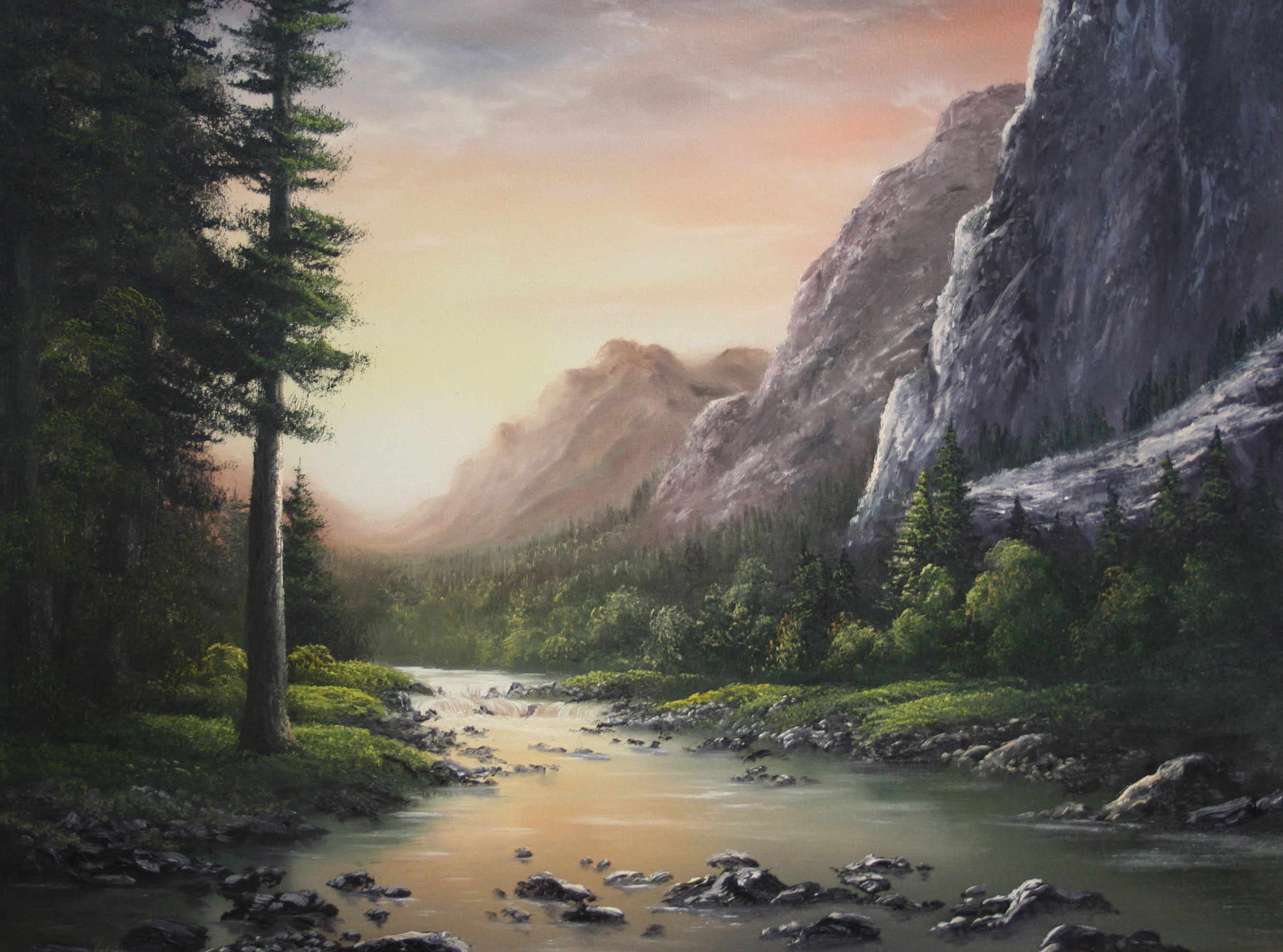 Sunset Across The Mountains By Kevin Hill Paintwithkevin Com Kevin Hill Paintings Landscape Paintings Oil Painting Landscape