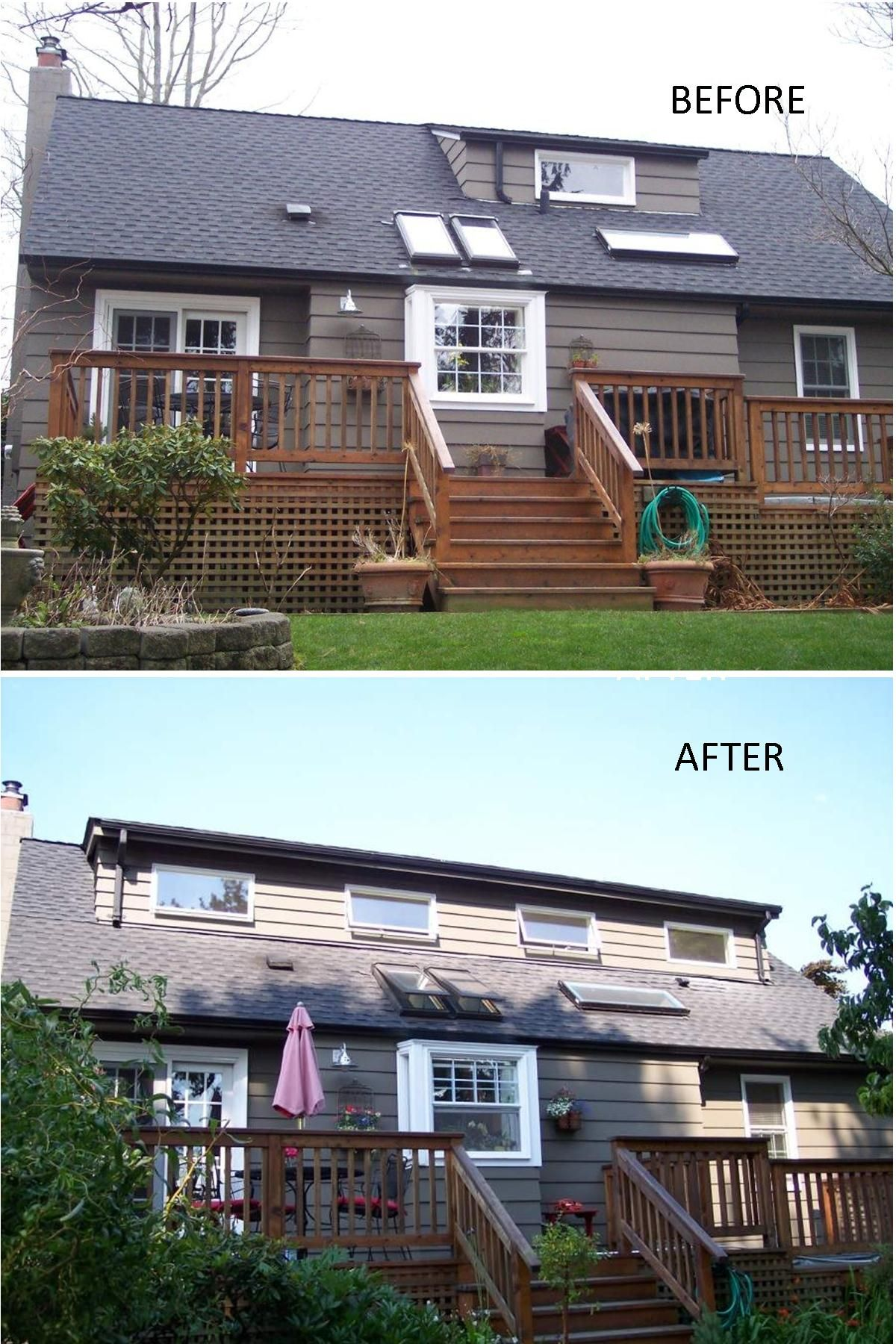 Before and after shot of a 30 foot shed dormer addition we built in