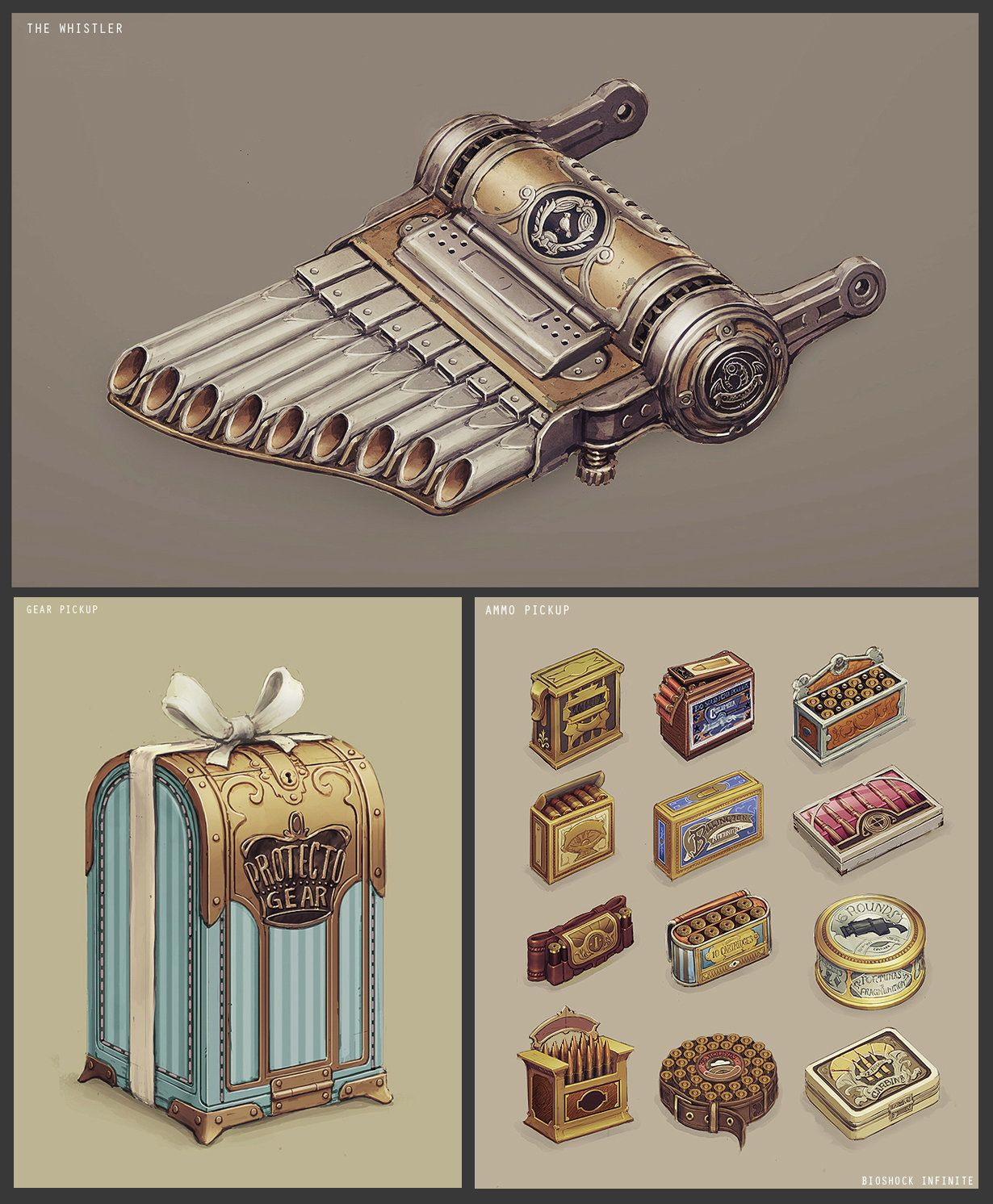 Various Bioshock Infinite, Chris Chaproniere on ArtStation at https://www.artstation.com/artwork/songbird-whistler-gear-and-ammo-pickups